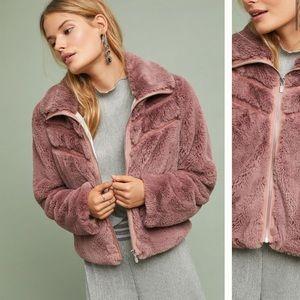 Anthropologie NWT Chevron Faux Fur Coat Size M